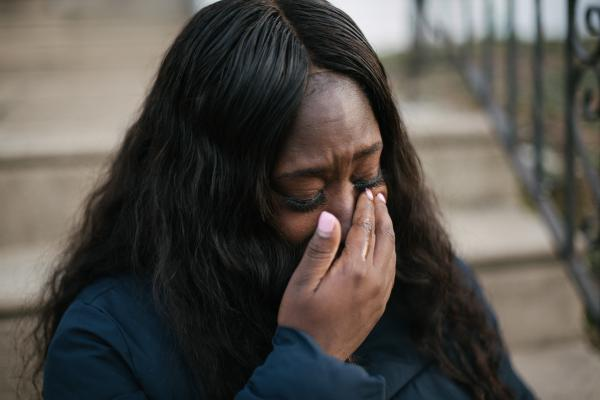 Shanaya Ball, 27, cries as she thinks about her situation her with her son, Amari, in front her home in Philadelphia, PA. on Thursday, February 20, 2020. �Why me?� Ball asks as she thinks about her son, who was diagnosed with autism in September 2019. Ball also discovered high lead levels in her son after his diagnosis. The city inspected her home and found there was lead in all the baseboards, window and door frames. She wonders if this could be why her son has autism and developmental issues.