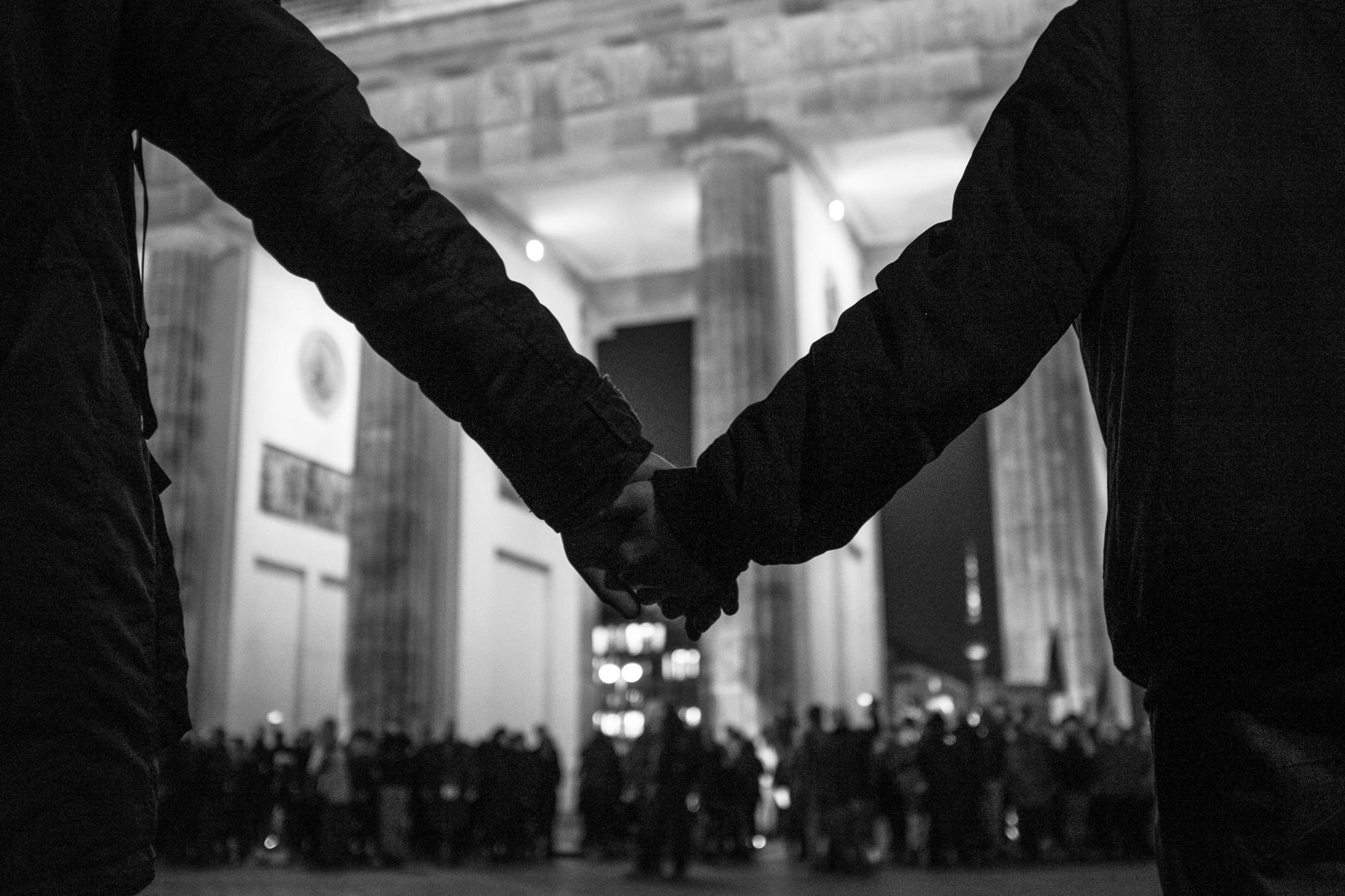 Vigil in Berlin for the victims of an act of far-right terrorism in Hanau/Germany, where nine were brutally murdered by a racist, who later took his own life and that of his mother. Berlin, February 20, 2020.