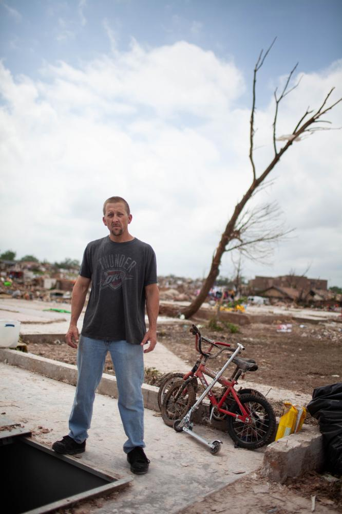 Kyle Kilpatrick watched the tornado on t.v. while at work. As he watched the hook echo get bigger on the screen, he knew his house, where his two boys were with his mother, had been hit. Kilpatrick is thankful for people helping and the intensity in which they are volunteering.