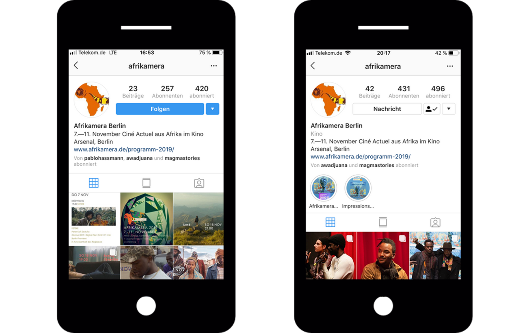 Social Media impact on Instagram (before and after the event).