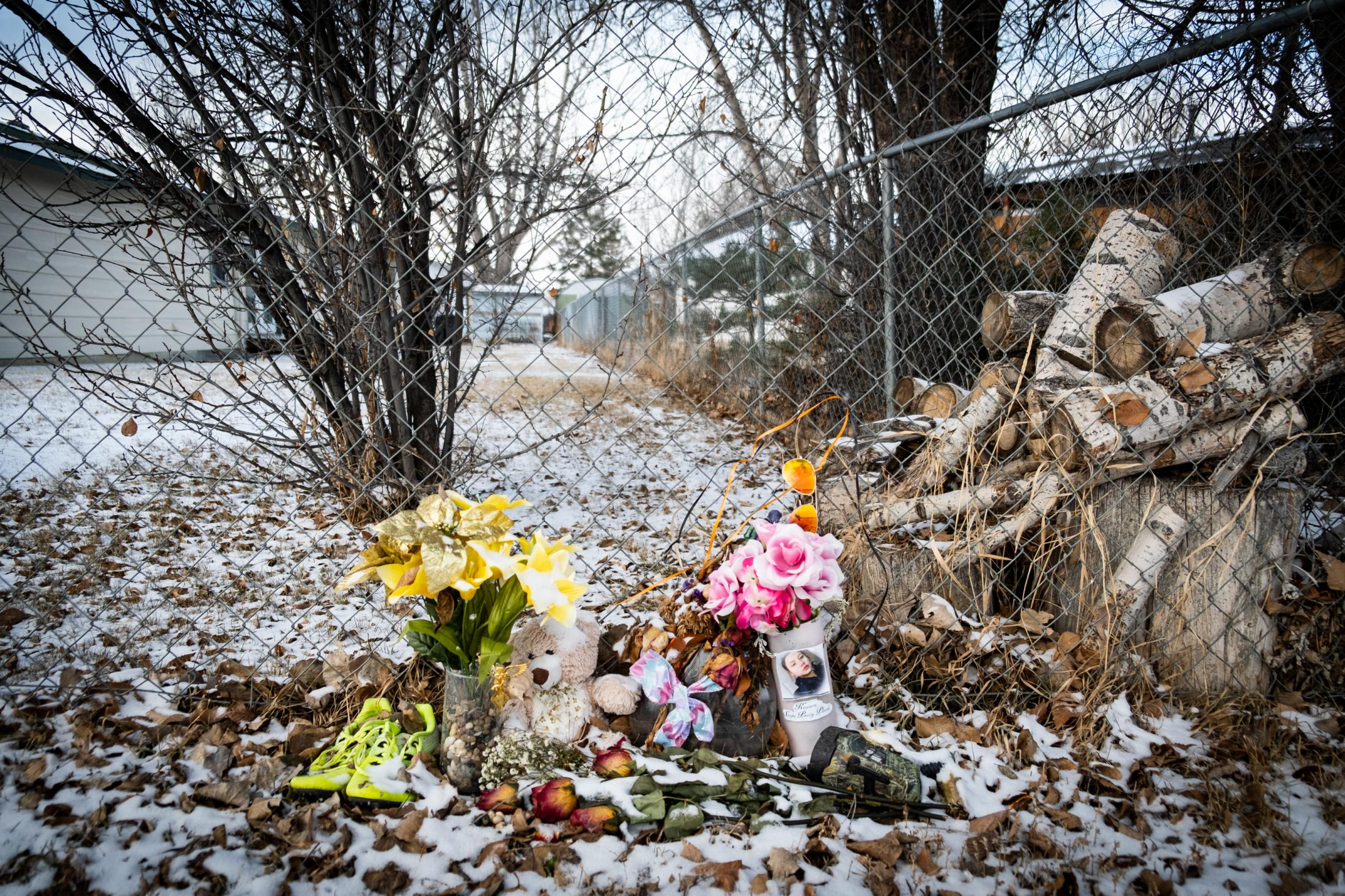 A memorial for Kaysera Stops Pretty Places at the spot where she was found dead in August.