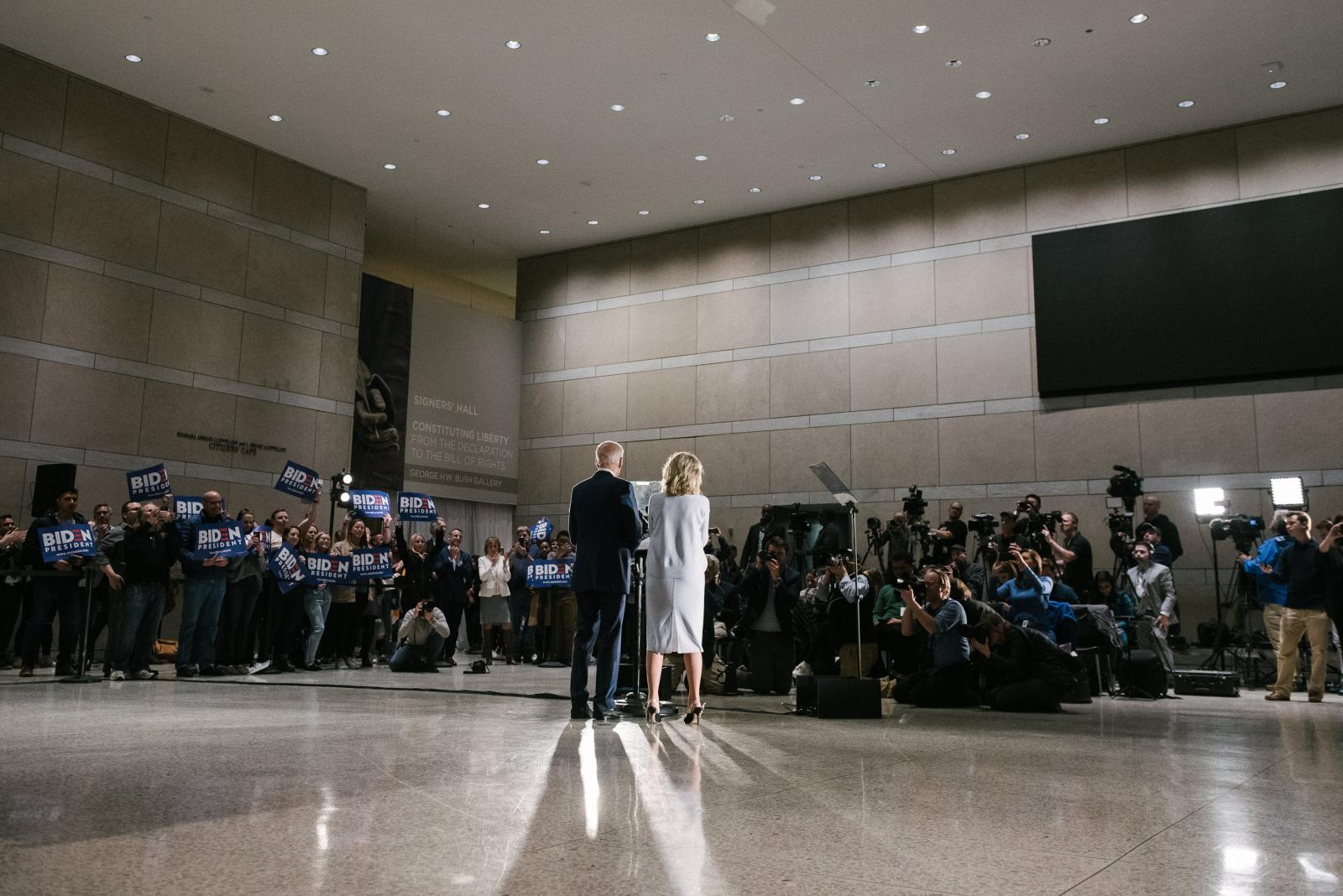 Former Vice President Joseph R. Biden Jr. speaks at the National Constitution Center in Philadelphia, PA on Tuesday, March 10, 2020. Biden and Senator Bernie Sanders both cancelled their Cleveland, Ohio rallies because of concerns about the coronavirus. Hannah Yoon NYTPRIMARY