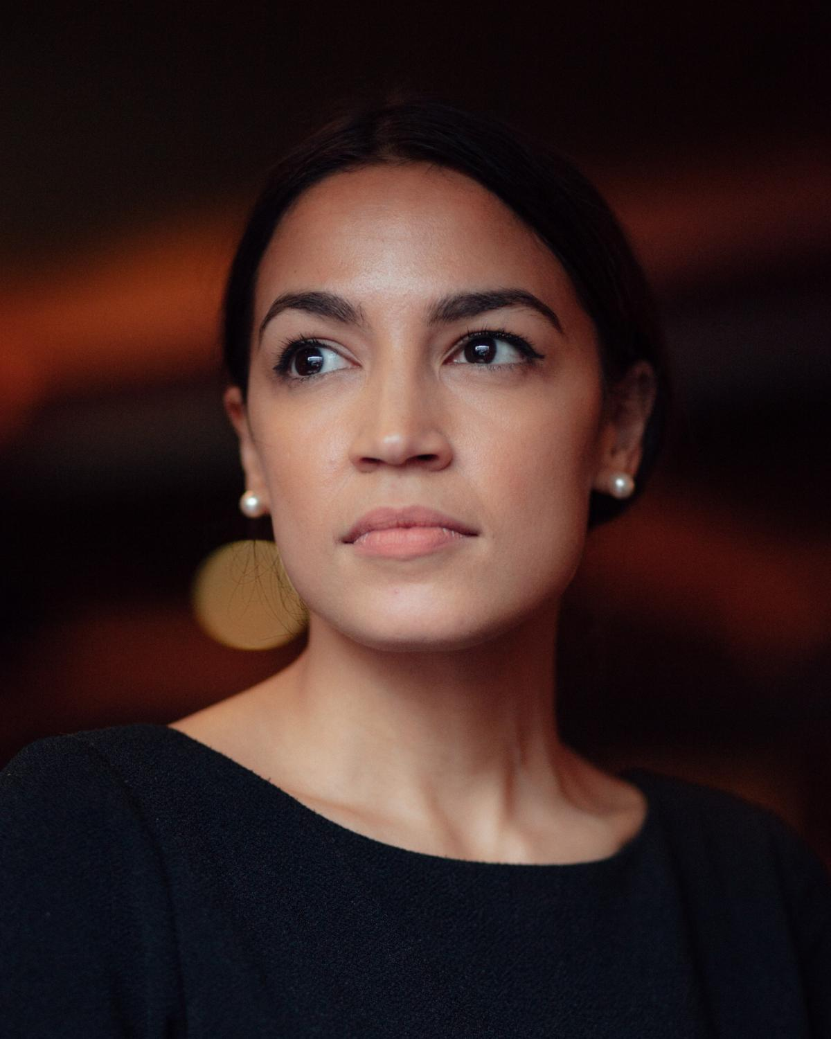Portrait of political candidate Alexandria Ocasio-Cortez after her first public speech where declared her run for office. Rockville Center, New York, June 2017