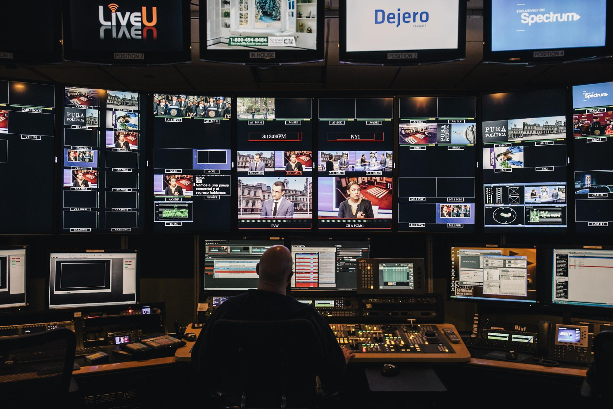 View from the control room at NY1 of Alexandria during her on-air interview with Pure Política's, Juan Manuel Benítez, on NY1, in the Manhattan borough of New York City, May 11, 2018.
