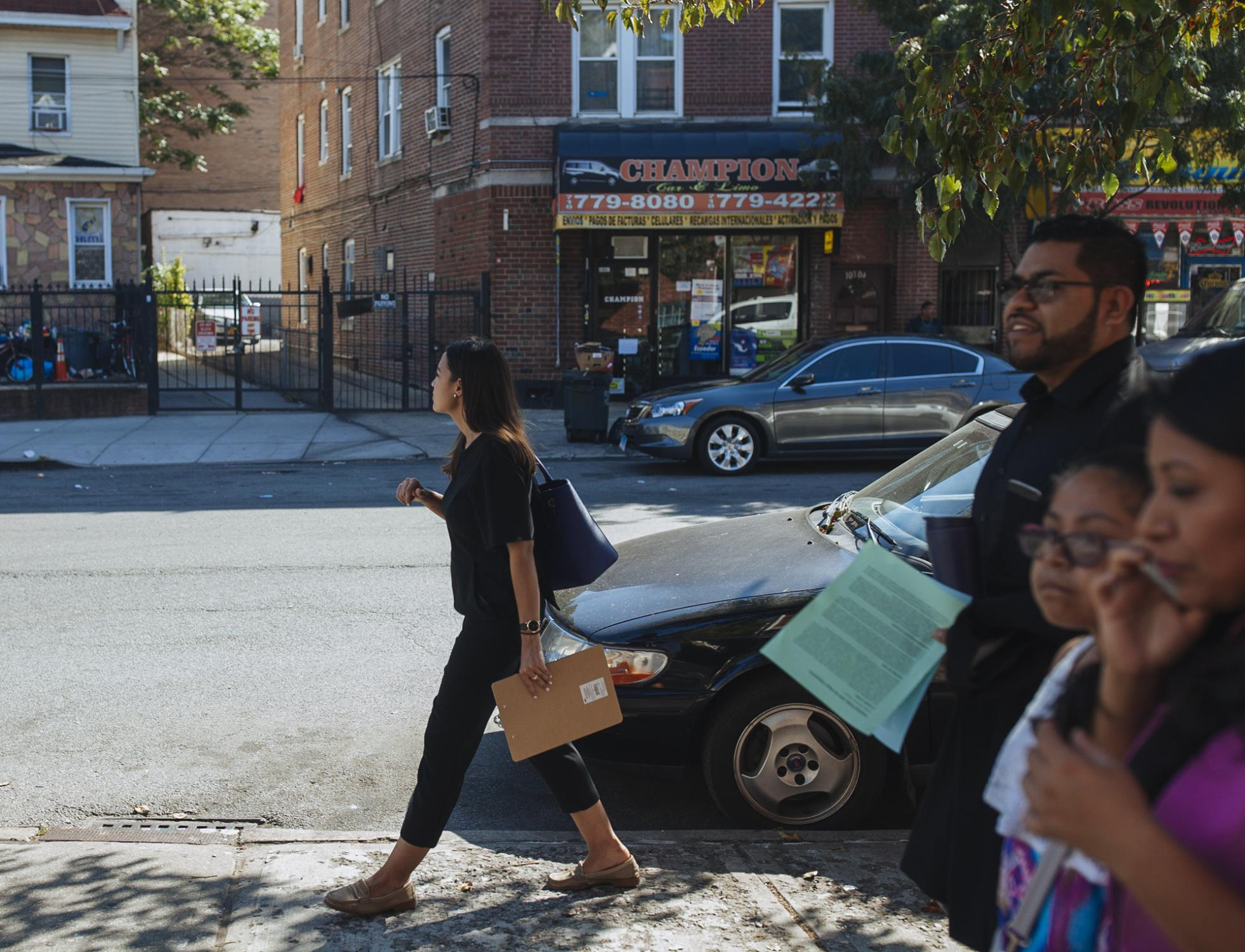 With the voter registration deadline a few weeks away, Alexandria's goes door to door speaking with independent and unregistered voters of the area, in the Queens borough of New York City, September 24, 2017. Her ever-growing support has forced the incumbent (D) Joseph Crowley to acknowledge her as a candidate for NY-14 resulting in the incumbent's first time being opposed in fourteen years.