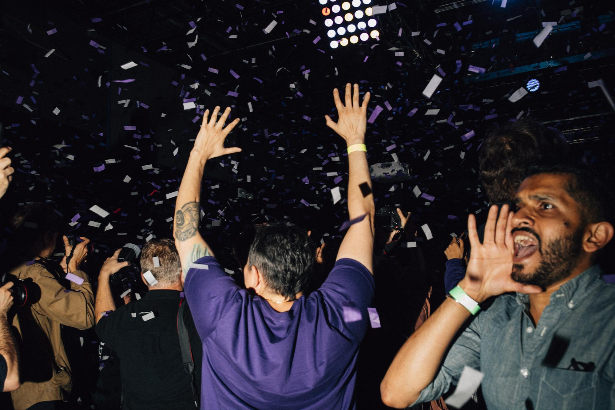 Confetti falls from the sky and covers supporters at the Woodside neighborhood Latin night club La Boom moments after Alexandria delivered her victory speech to the crowd of supporters and volunteers, in the Queens borough of New York City, November 6, 2018.