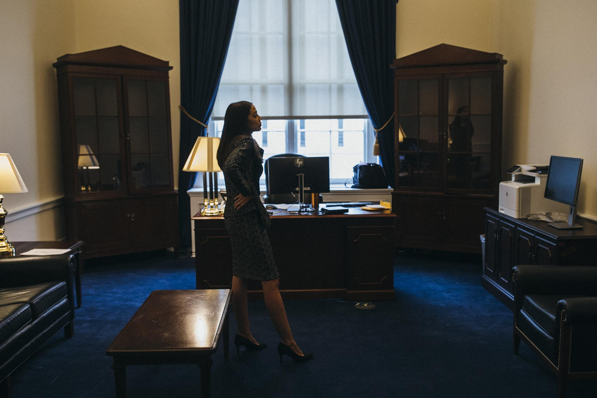 Congresswoman Alexandria Ocasio-Cortez stands in her congressional office for the first time the day before taking the oath of office and officially becoming Representative of Ny-14, in Washington D.C. District of Columbia, United States of America, January 2, 2019.