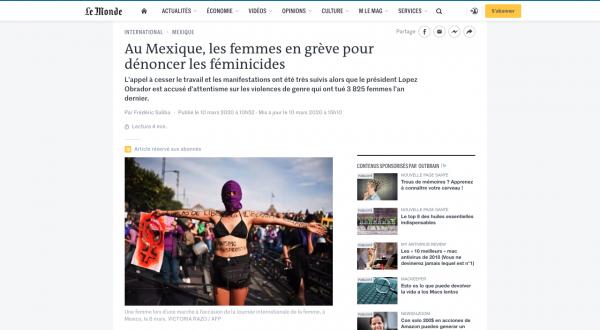  https://www.lemonde.fr/international/article/2020/03/10/au-mexique-les-femmes-en-greve-pour-denoncer-les-feminicides_6032462_3210.html 