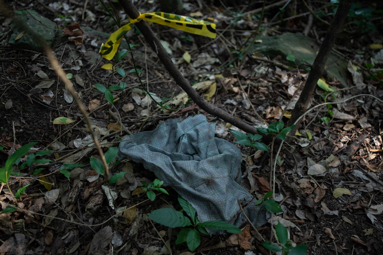 Women's skirt is located in an area that is investigated by police authorities and groups of relatives participating in the fifth National Missing Persons Search Brigade in Tihuatlan, Veracruz, Mexico, on February 20, 2020. Victoria Razo for NPR