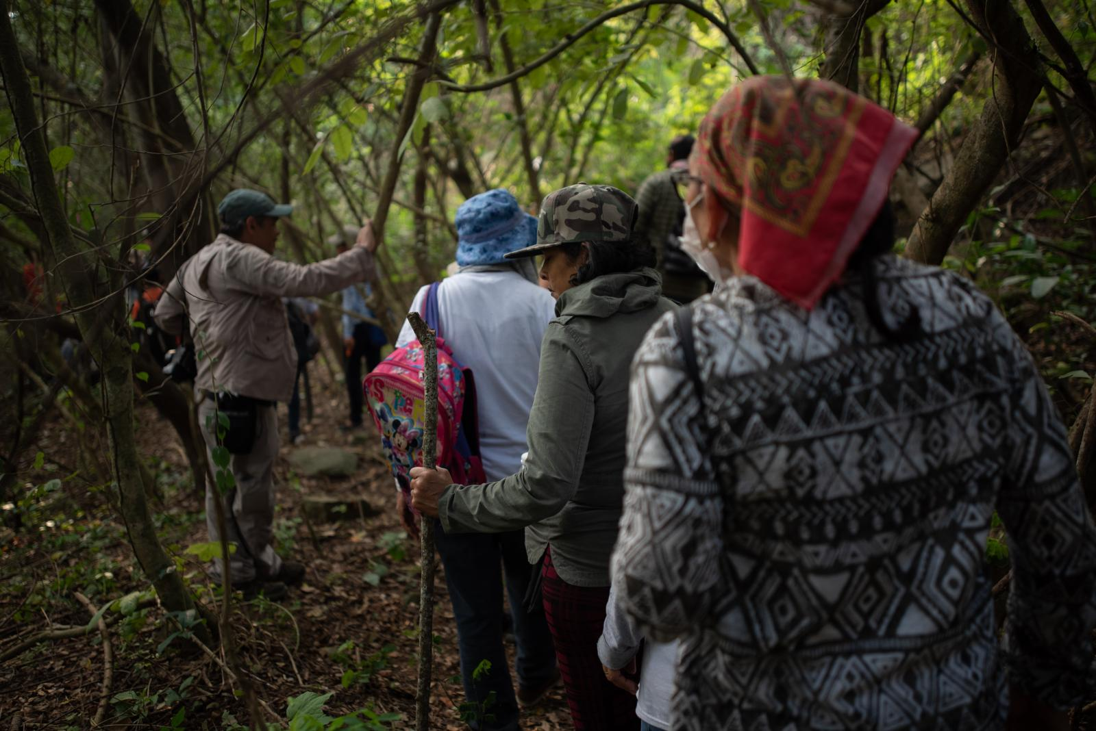 A group of seekers of missing persons walks through field that is investigated by police authorities and family groups participating in the fifth National Missing Persons Search Brigade in Tihuatlan, Veracruz, Mexico, on February 20, 2020. Victoria Razo for NPR