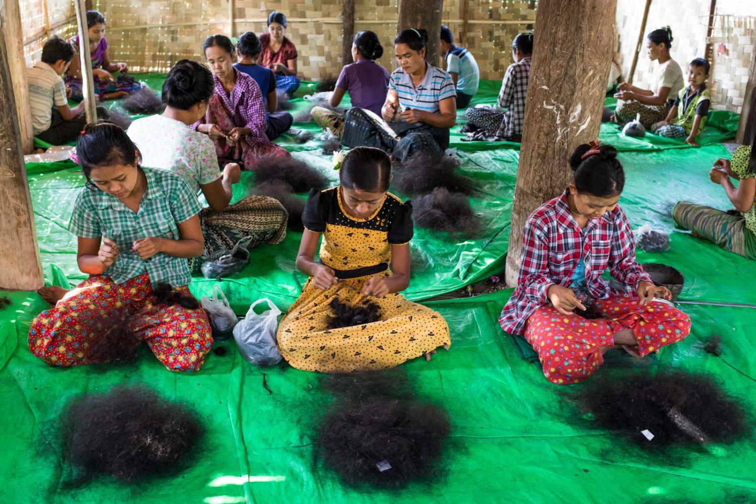 Wig preparation in Naypyidaw, Myanmar