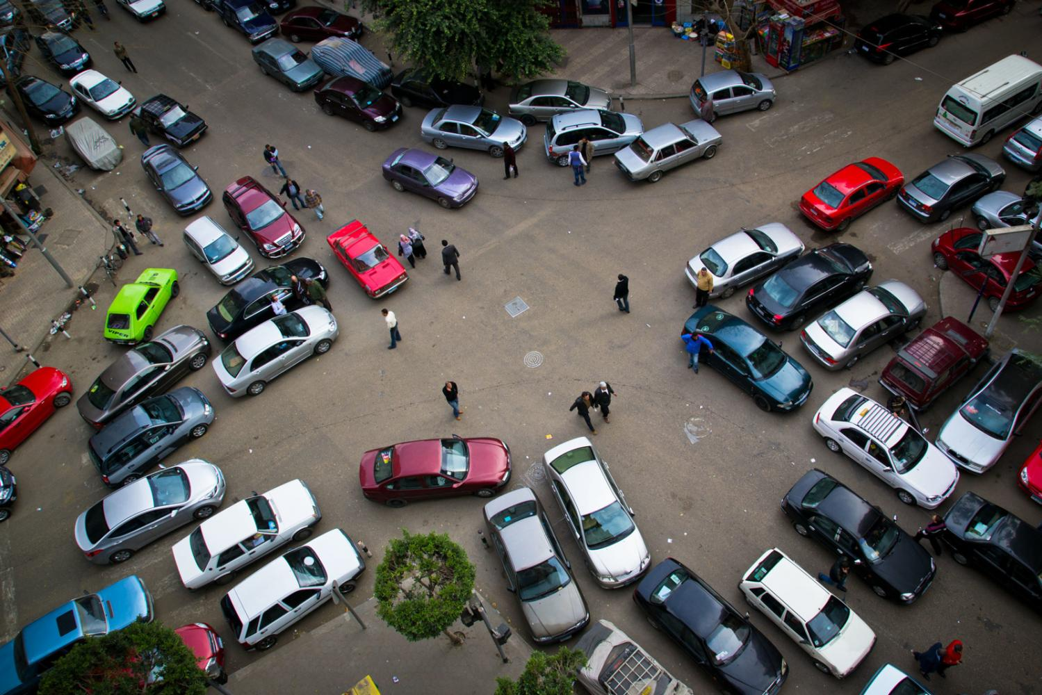 Parking in downtown Cairo, Egypt