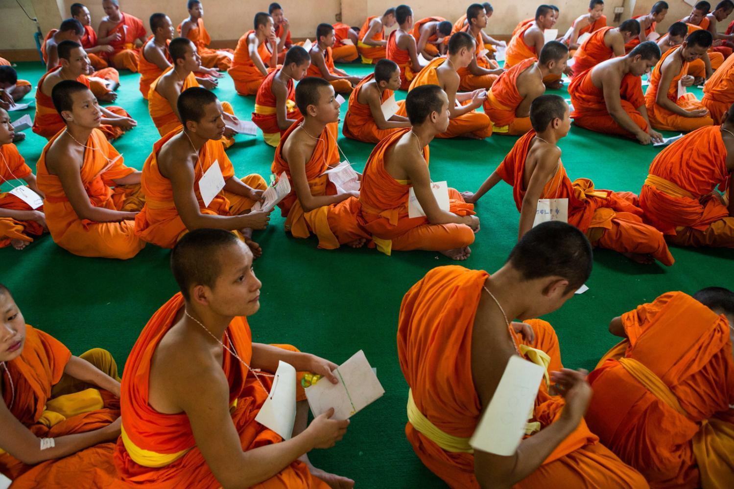 Novice monks at an educational program in Nakhon Sawan, Thailand