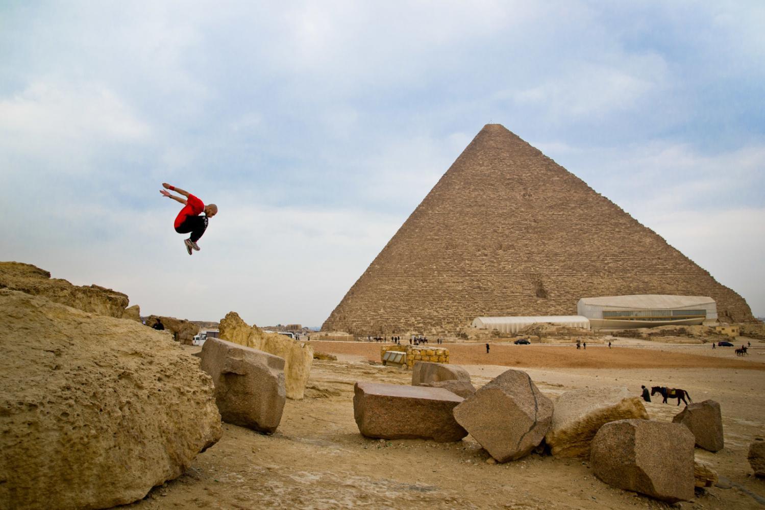 Parkour at the Giza Pyramids