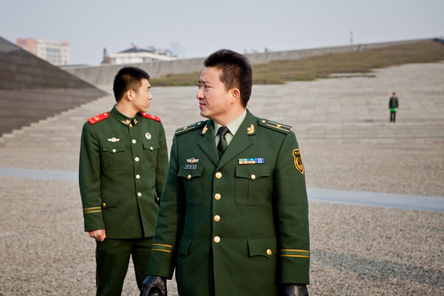 Guards at Nanjing's Massacre Memorial
