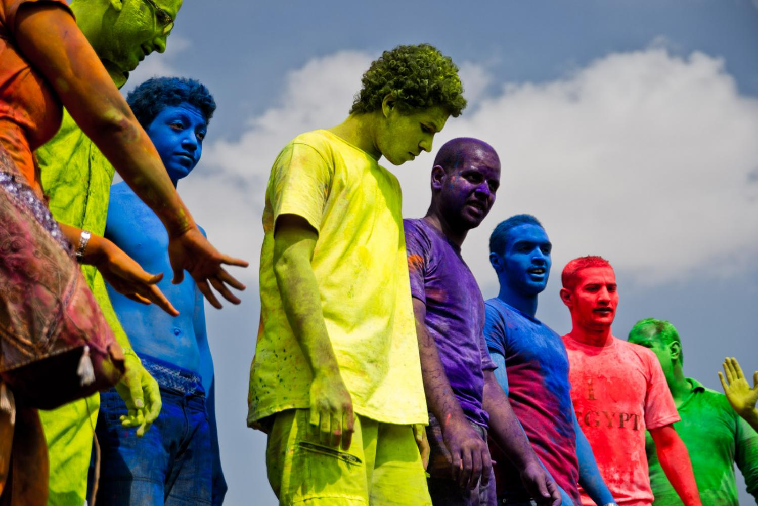 Egyptian teens participate in a color festival in Cairo