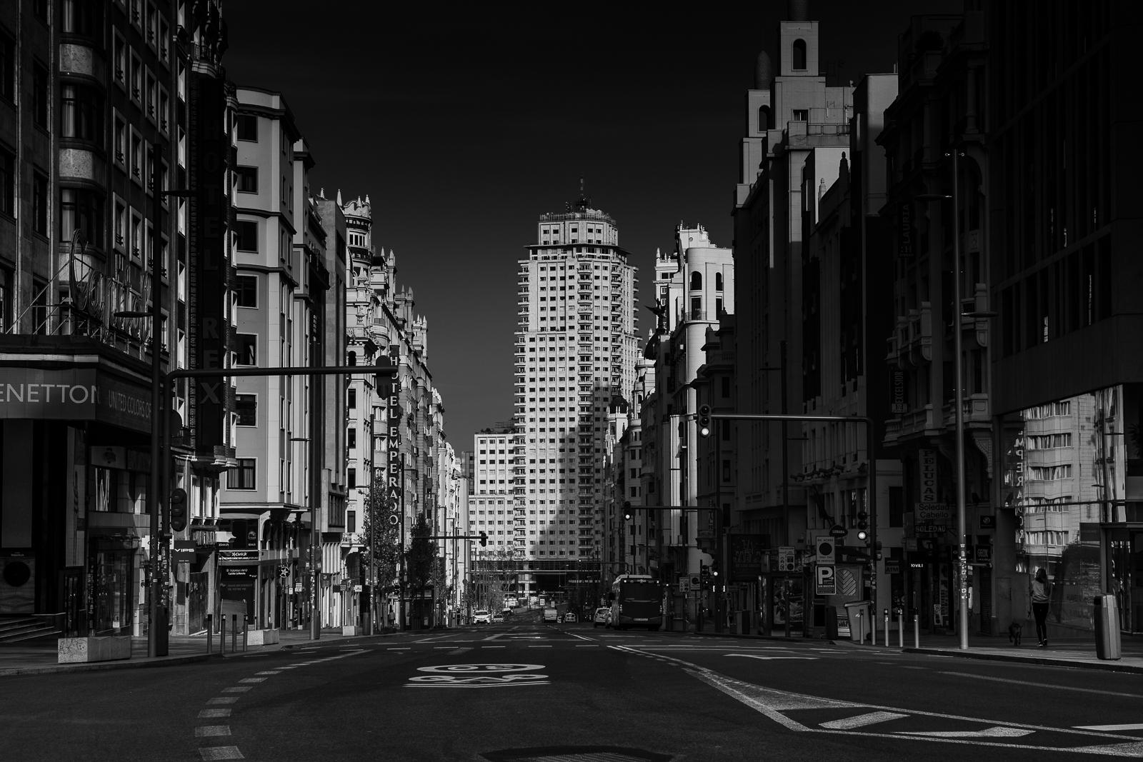 Gran Via Street view, one of the most important avenues of the city center of Madrid during the coronavisrus national lockdown.