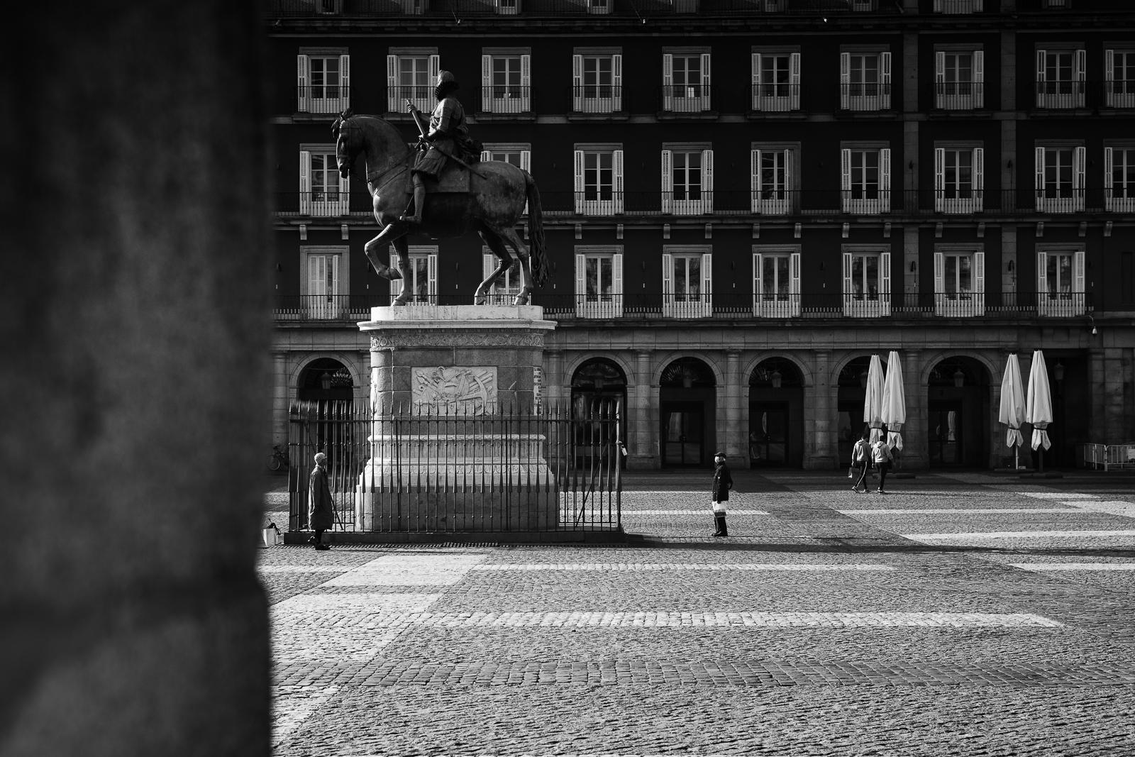 Plaza Mayor nearly empty during the coronavirus lockdown in Madrid, Spain.
