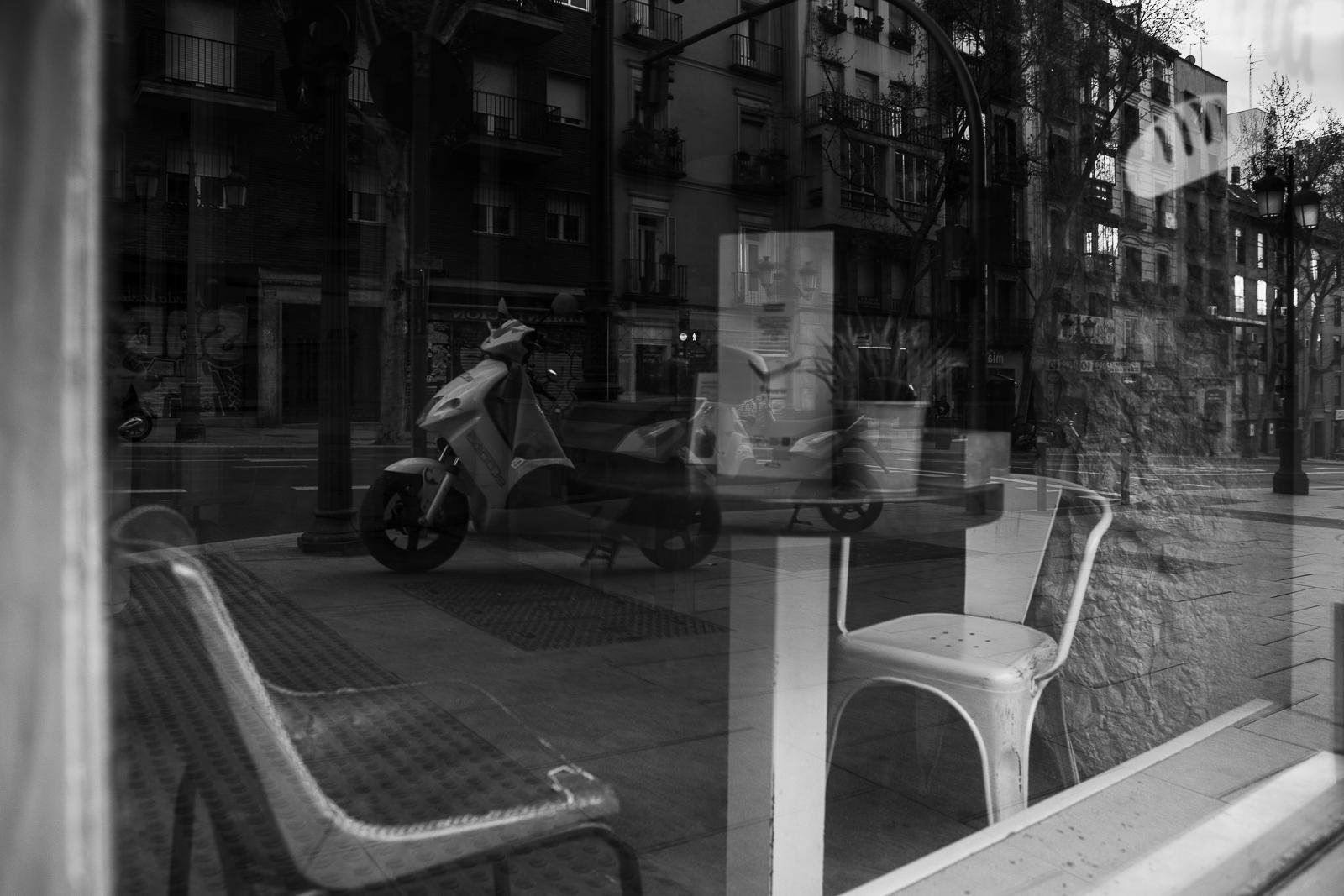 Closed shop/restuarant during the coronavirus lockdown in Madrid, Spain.