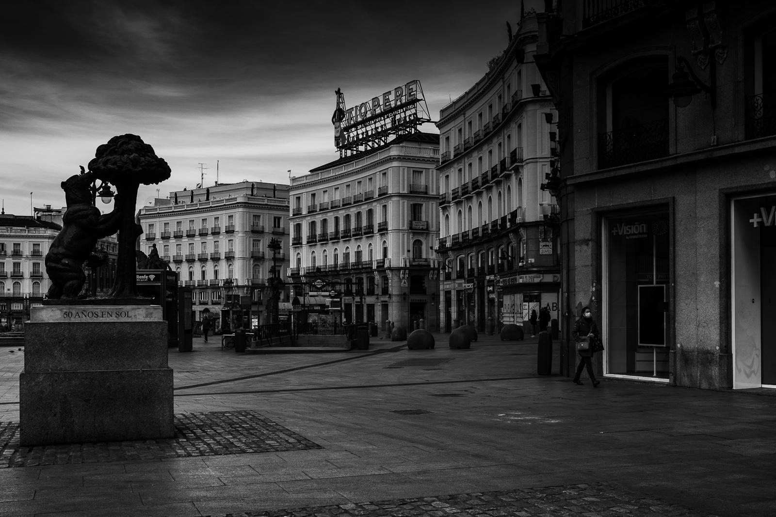 Plaza Sol one of the most imortant turistic places of Madrid city center durinfg the national lockdown amid coronavirus pandemic.