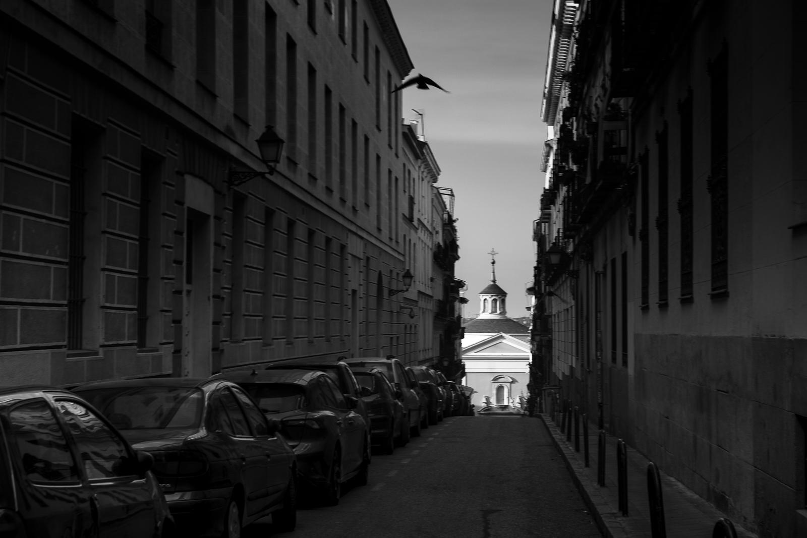 Empty street of Madrid city center during the coronavirus lockdown.