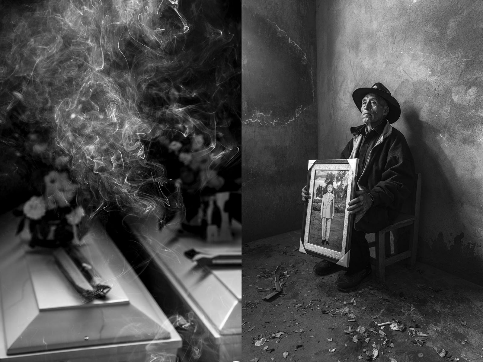 Oswaldo Palomino junto a la foto de su hijo Oswaldo, quien tenia 15 años cuando fue llevado por integrantes de Sendero Luminoso. Su esposa no pudo asistir al velorio de su hijo, porque ya no podía caminar.
