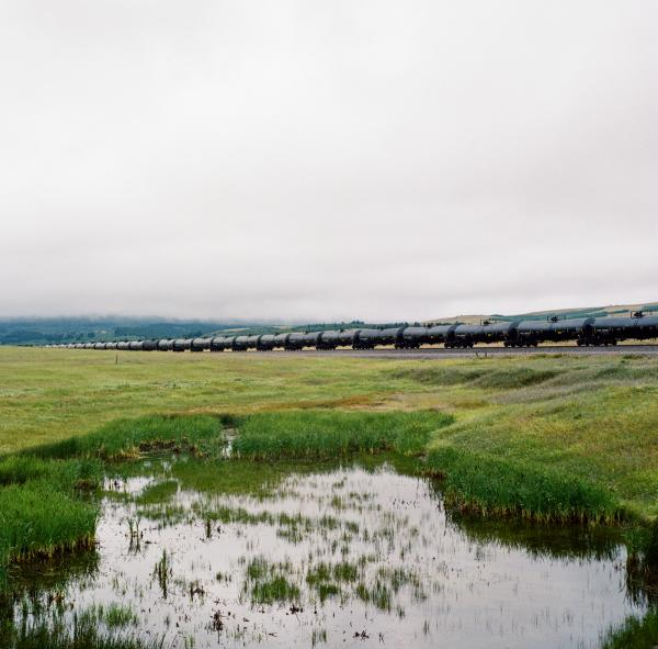 A freight train carrying crude oil travels through Blackfeet Indian reservation.
