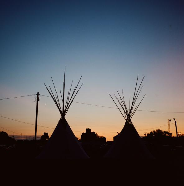 The sun sets at the Fort Peck Indian Reservation.