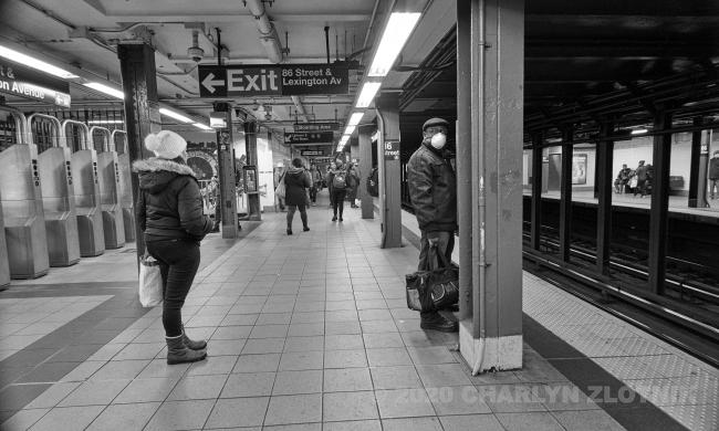 New York, NEW YORK - MARCH 18: New York subway riders on March 18, 2020.