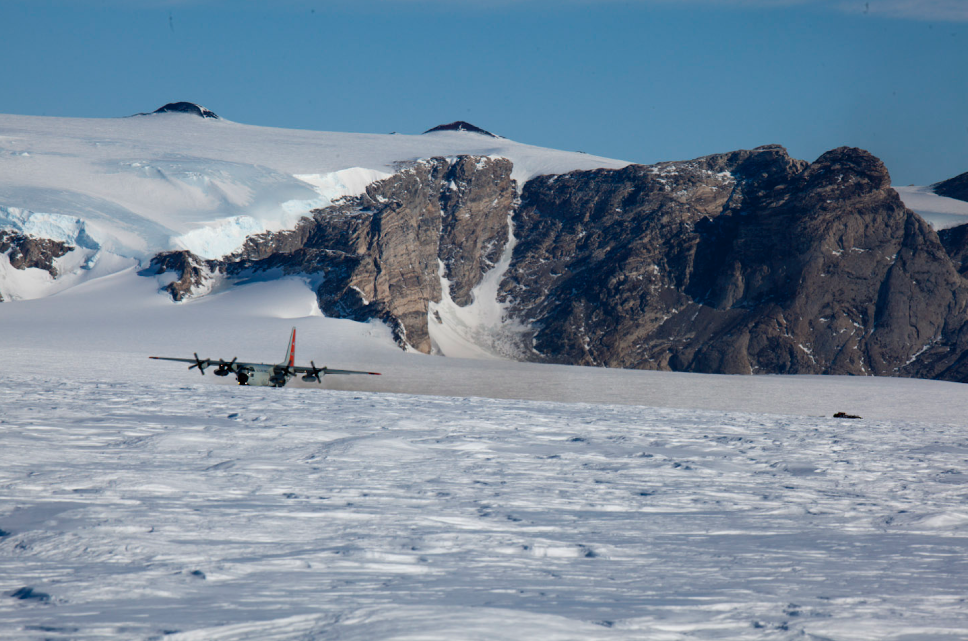 LC130 Hercules landing with the rest of our team in November 2011. One of roughest landings you can imagine.