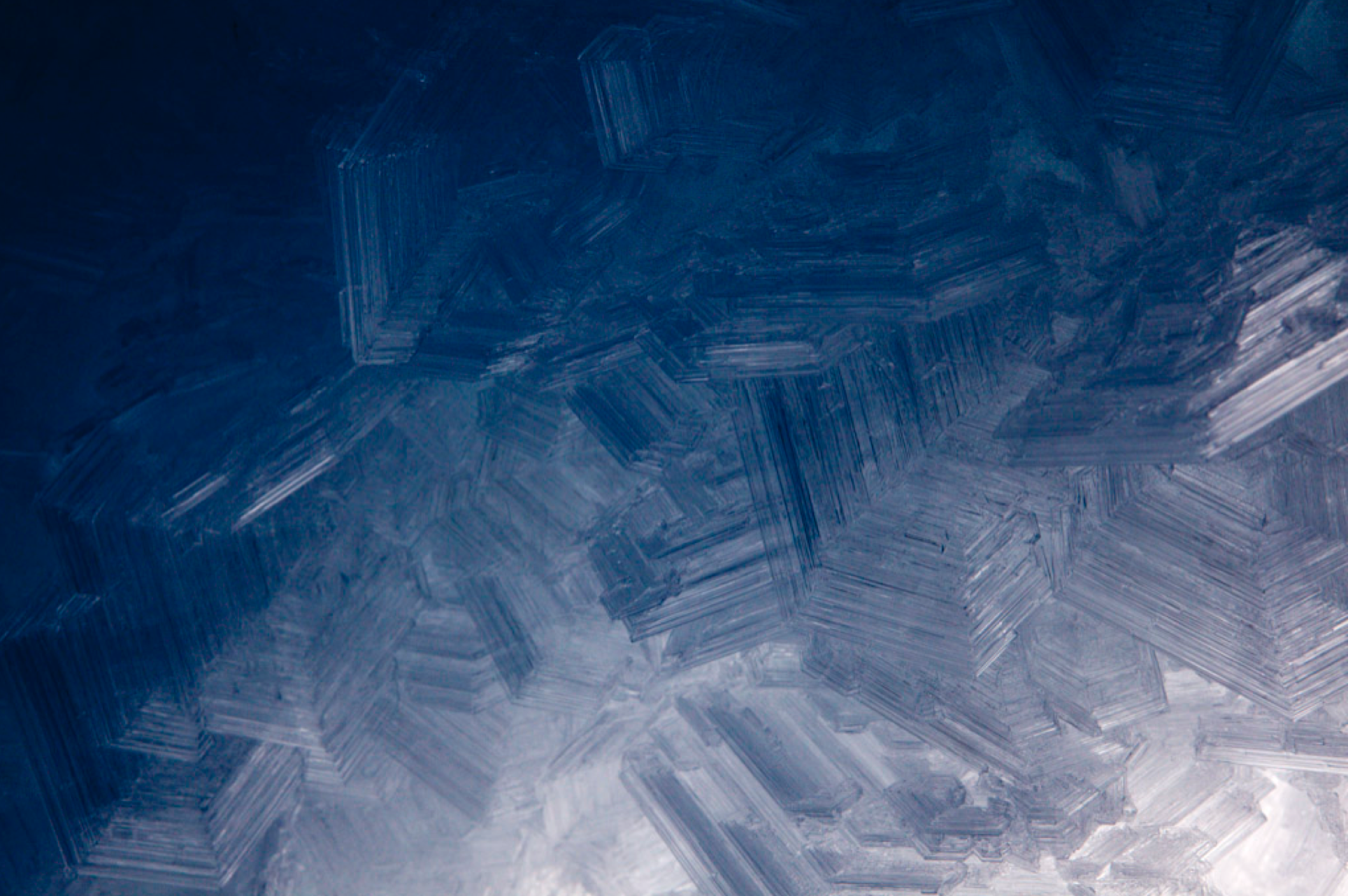 Enormous faceted snow crystals inside of a crevasse.