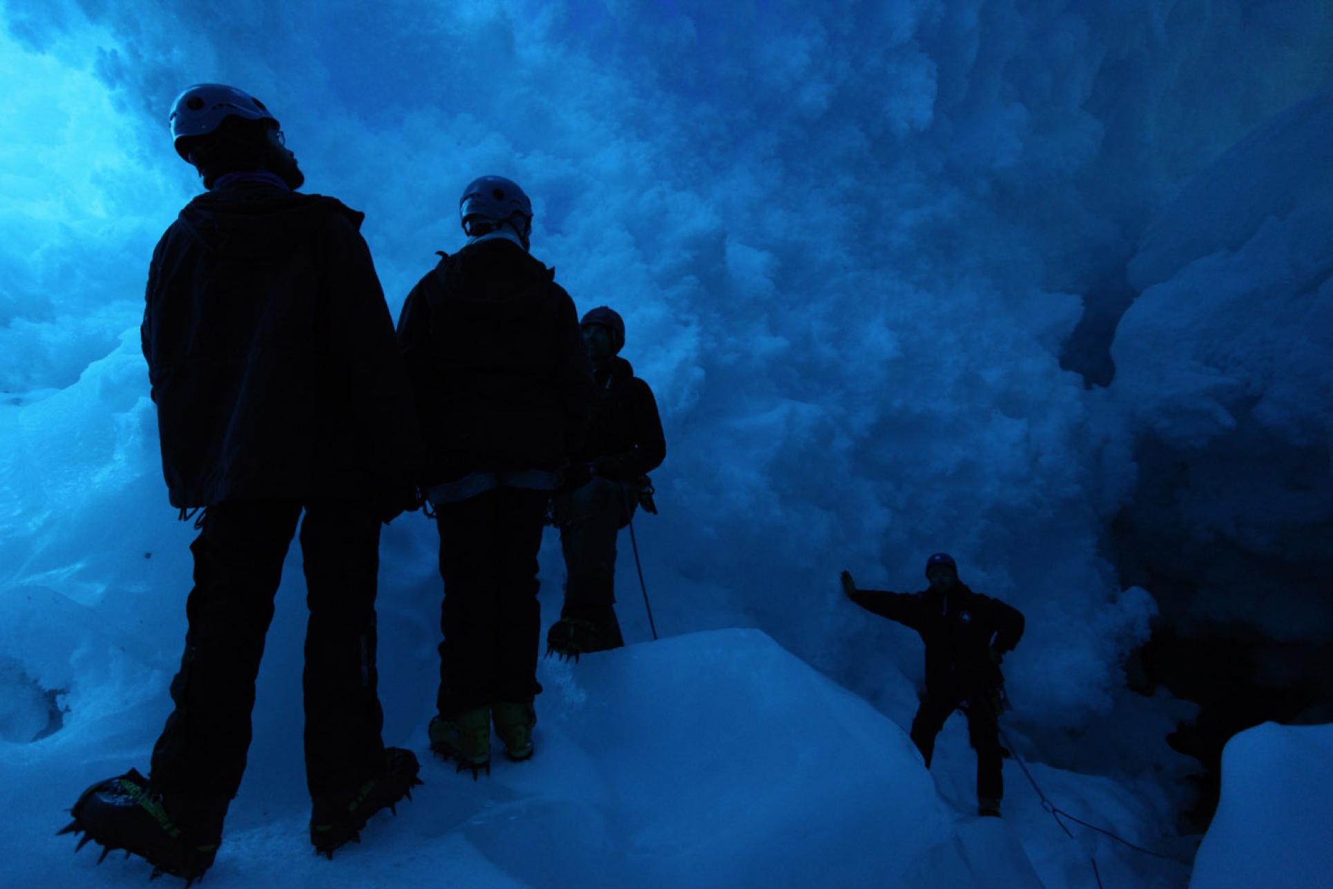 Inside of a crevasse near base camp.