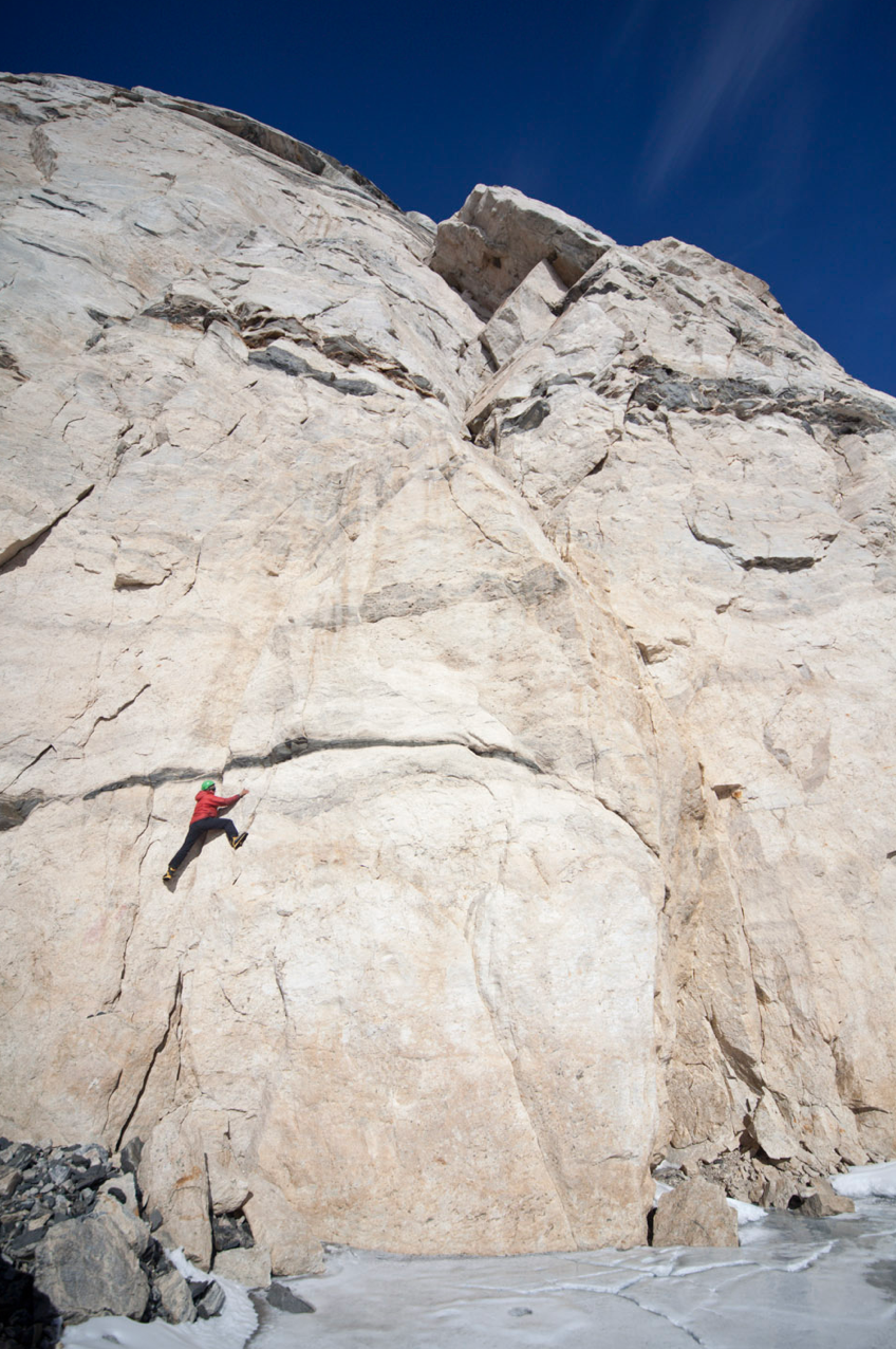 Playing around on some nice cracks at the base of a mountain.