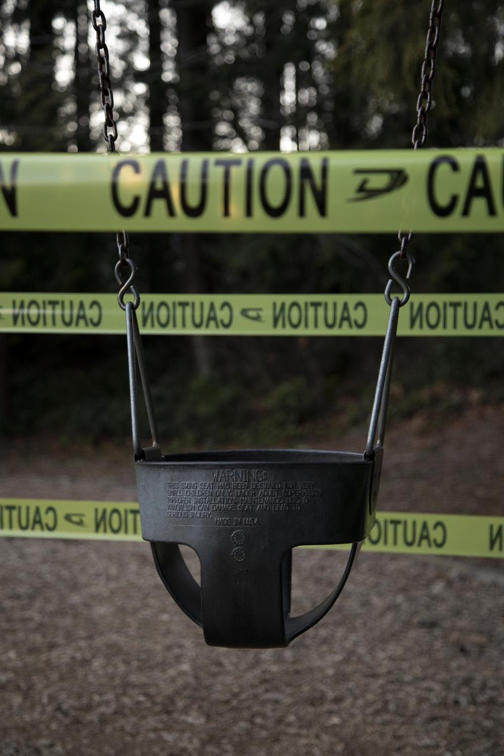 A playground at Cleveland Park in North Vancouver, B.C. is cordoned off on Friday, March 20, 2020. Effective Friday, March 20, 2020, the City and District of North Vancouver have closed all playgrounds and playing fields in an attempt to curb the spread of COVID-19. North Vancouver has been a hotspot of COVID-19, with ten deaths connected to the Lynn Valley Care Centre as of Monday, March 23, 2020.