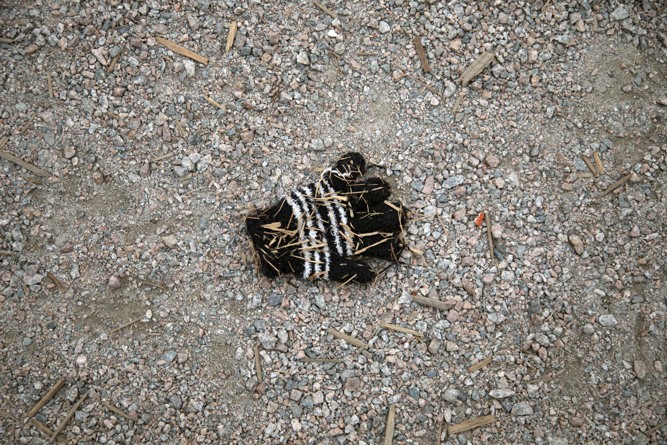 A glove is seen at a playground in Moodyville Park in North Vancouver, B.C., on Sunday, March 22, 2020. Effective Friday, March 20, 2020, the City and District of North Vancouver have closed all playgrounds and playing fields in an attempt to curb the spread of COVID-19. North Vancouver has been a hotspot of COVID-19, with ten deaths connected to the Lynn Valley Care Centre as of Monday, March 23, 2020.