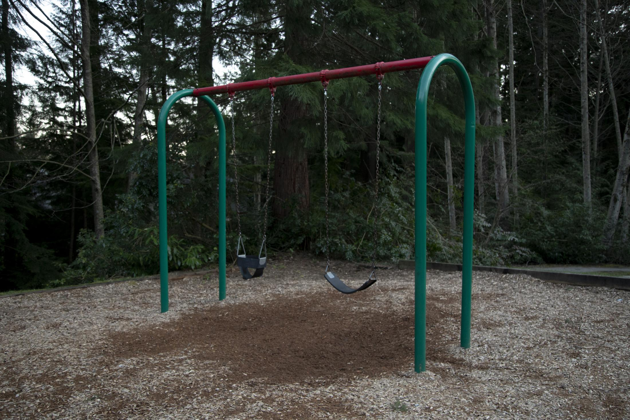 A set of swings is seen at Grousewoods Park in North Vancouver, B.C., on Friday, March 20, 2020. Effective Friday, March 20, 2020, the City and District of North Vancouver have closed all playgrounds and playing fields in an attempt to curb the spread of COVID-19. North Vancouver has been a hotspot of COVID-19, with ten deaths connected to the Lynn Valley Care Centre as of Monday, March 23, 2020.