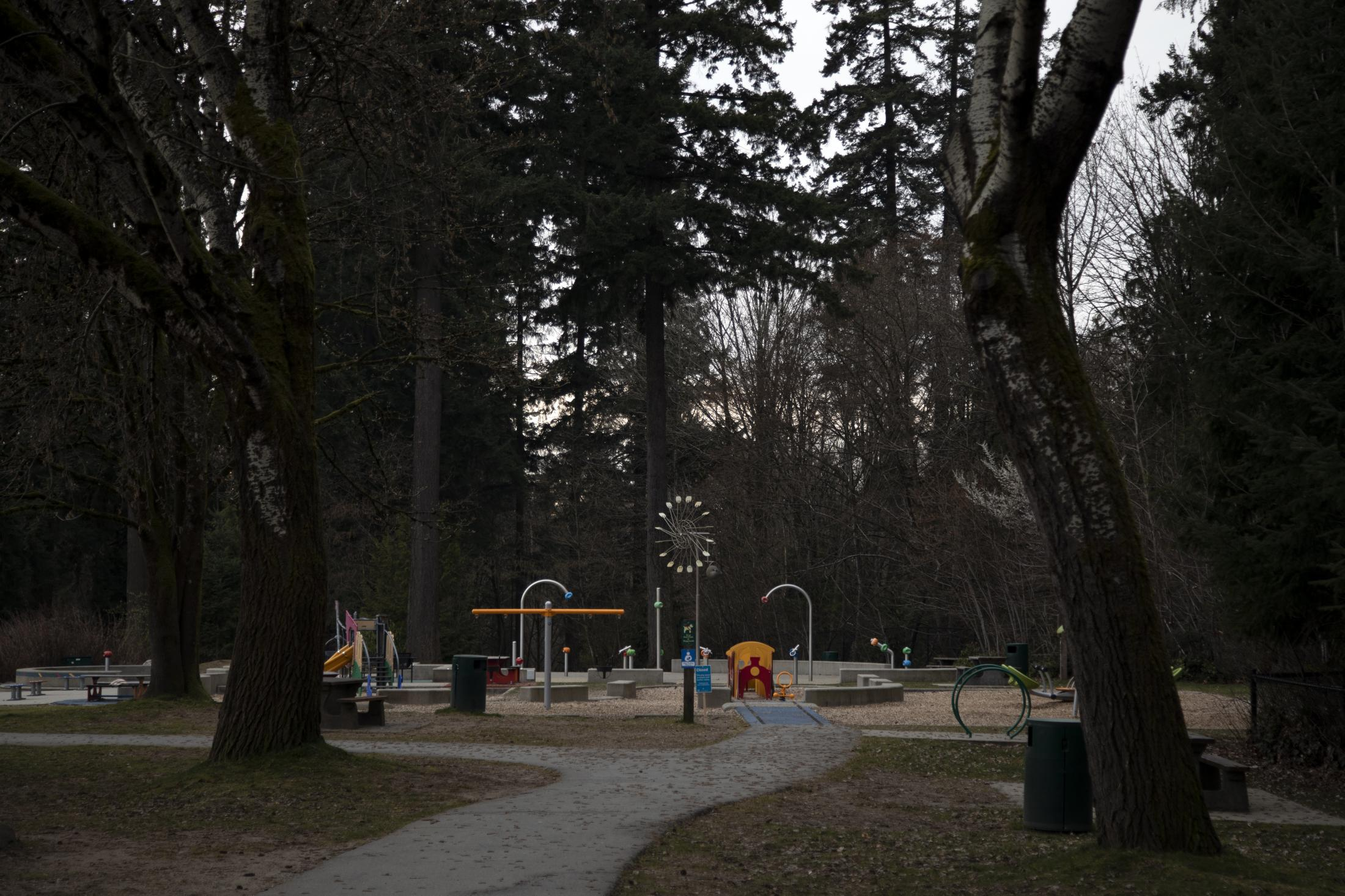 A playground in Mahon Park in North Vancouver, B.C., on Sunday, March 22, 2020. Effective Friday, March 20, 2020, the City and District of North Vancouver have closed all playgrounds and playing fields in an attempt to curb the spread of COVID-19. North Vancouver has been a hotspot of COVID-19, with ten deaths connected to the Lynn Valley Care Centre as of Monday, March 23, 2020.