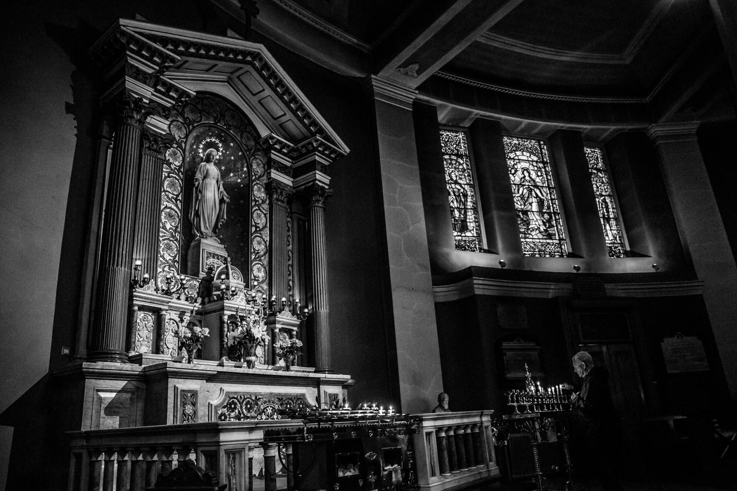 09/10/19: An elderly man is seen inside the Pro Cathedral in Dublin City centre, Ireland. In recent years Ireland has seen a severe decline in the amount of people representing as Catholics. The 2016 census saw 10% of the country state to having no religion which makes it the largest grouping after Catholicism in the Republic of Ireland.