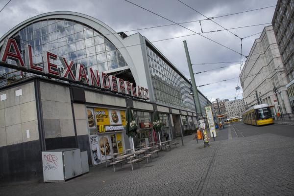 An Empty Alexander Platz in Berlin as the Lockdown in Germany due to the Corona Virus continues.