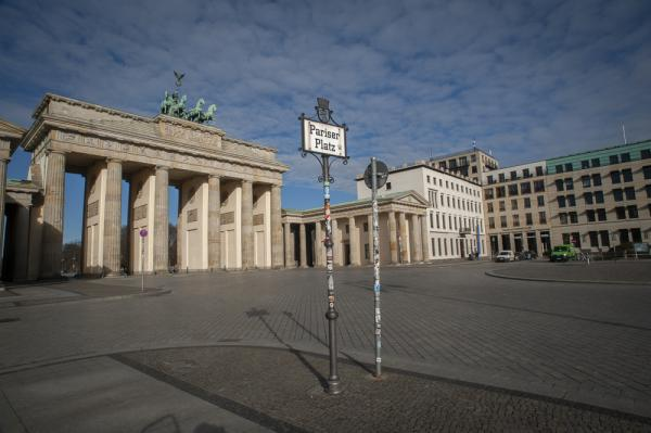 An empty Pariser Platz looking on to the Brandenburg Gate as the Lockdown in Germany due to the Corona Virus continues.