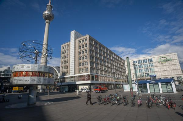 Facial masks at an Empty Alexander Platz in Berlin as the Lockdown in Germany due to the Corona Virus continues.