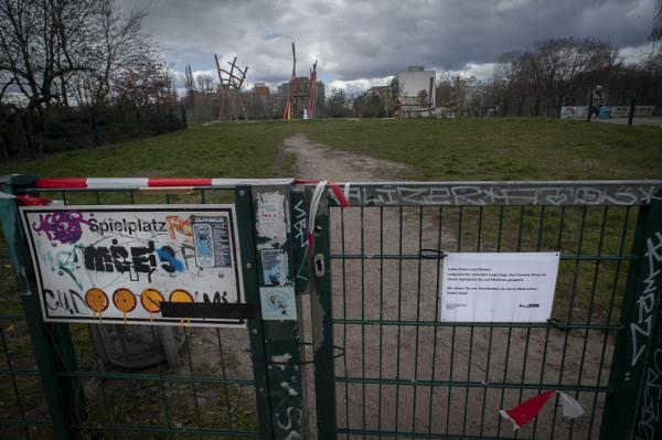 A closed playgroung due to restrictions made on Social Contact during the Corona pandemic. At Mauerpark, Berlin, Germany