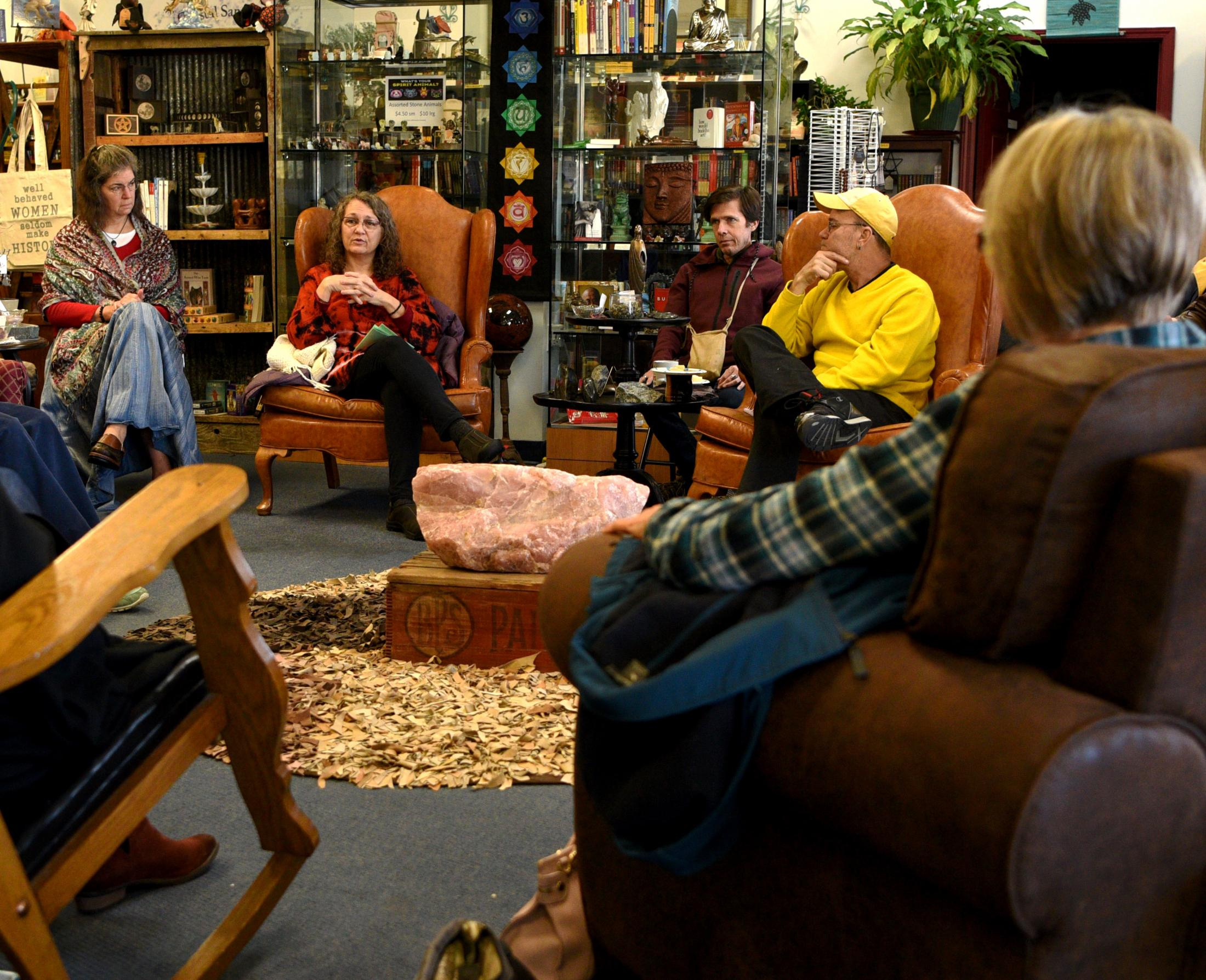 """Waddell leads a discussion on """"non-western ways of processing grief"""" at Heart, Body, and Soul's event called Coffee and Conversations on Nov. 2, 2019, in Columbia, Missouri. Community member's discussed grievances that ranged from just getting older to the loss of a loved one. """"Life is difficult to manage individually,"""" Waddell said. """"Westen ways of handling hardships too often isolates people with their problems but that is a time we need to rely on community more than ever."""""""