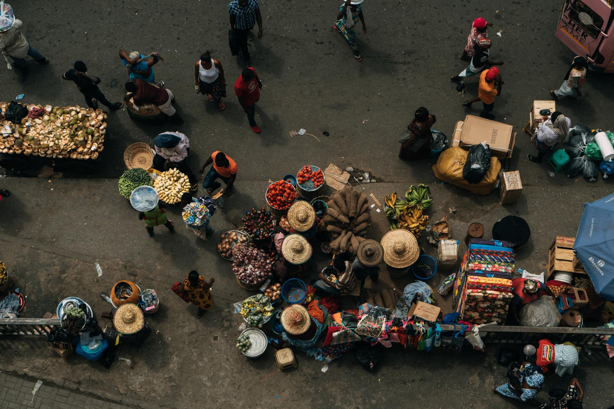 Every day hustle and bustle in Makola - one of the biggest markets in Accra.