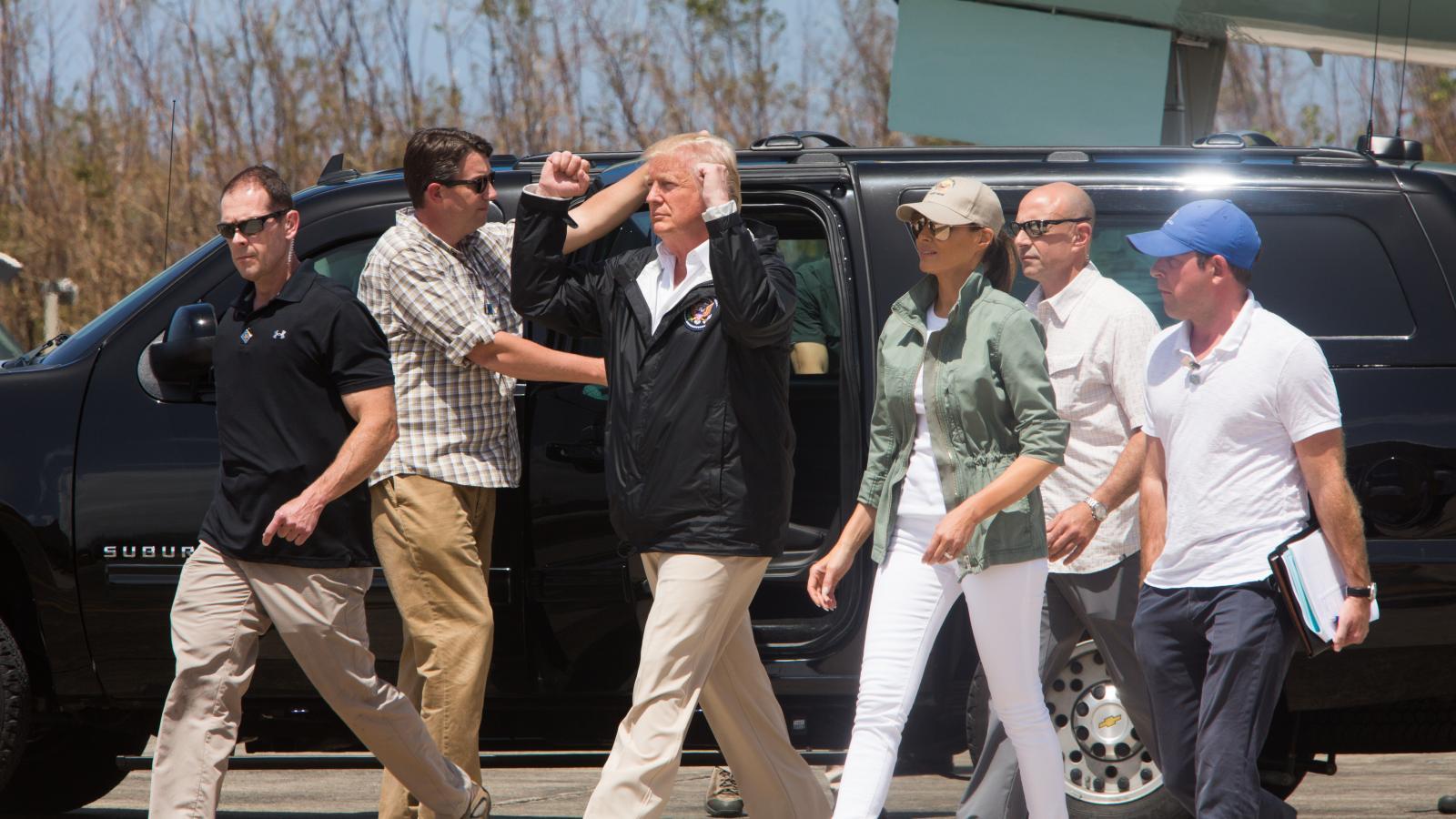 3 de octubre de 2017. El presidente de Estados Unidos, llegó a la isla para reunirse con el gobernador tras paso de hurcán María.