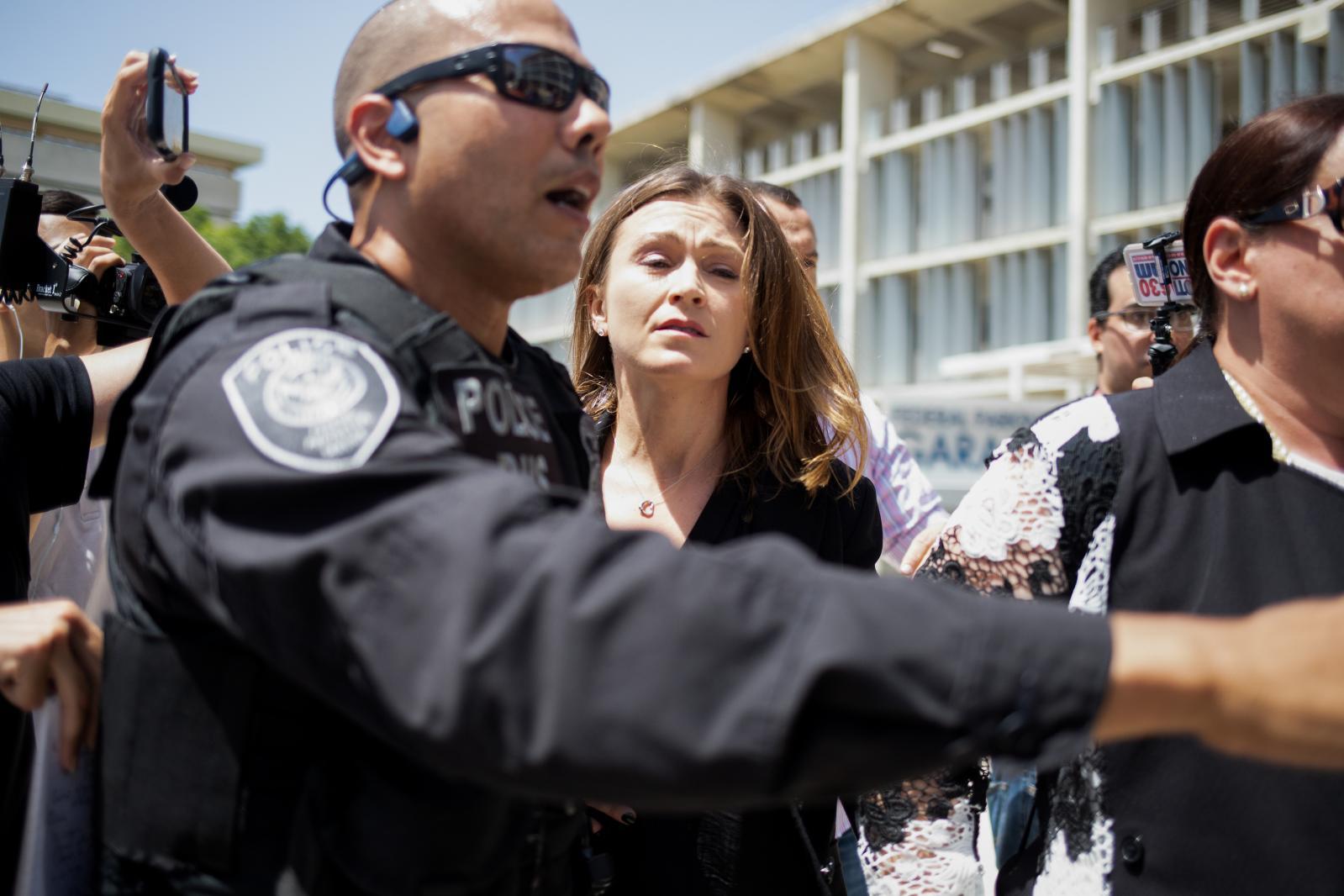 16 De julio de 2019. Julia Keleher, exsecretaria de educación llega al Tribunal Federal para enfrentar a la justicia.