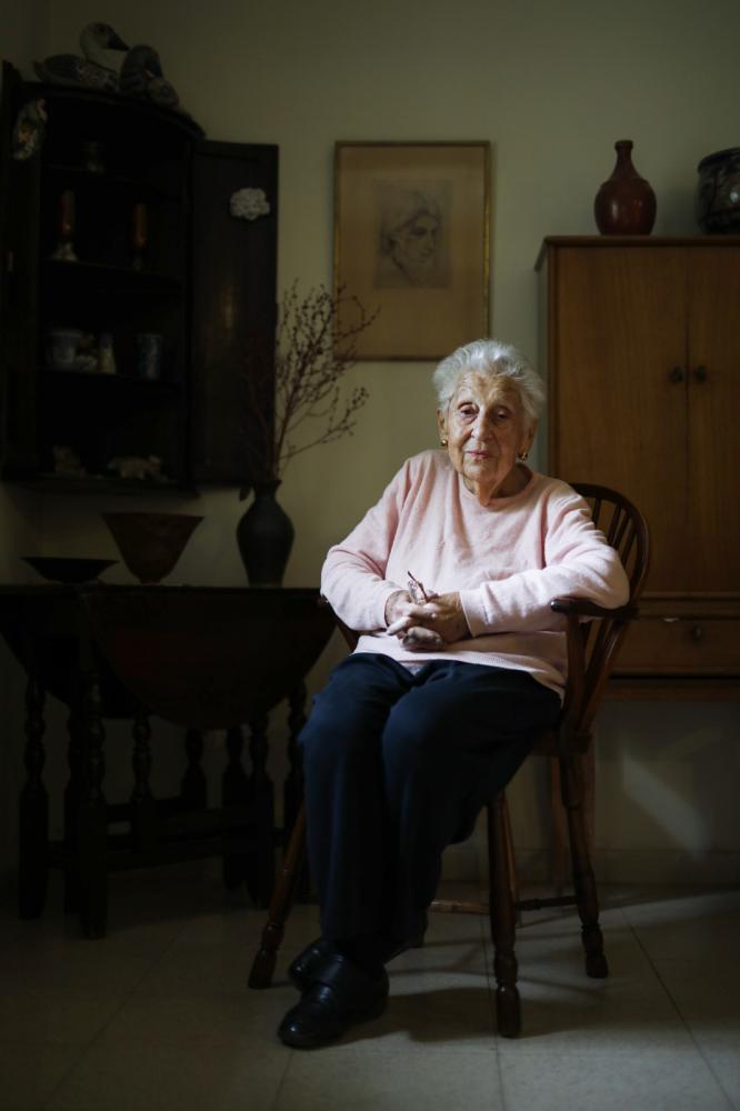 Portrait of Israeli professor and feminist activist Alice Shalvi in her home in Jerusalem, Israel, April 22, 2019