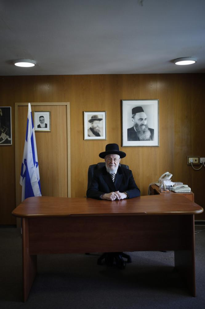 Portrait of Rabbi Yisrael Meir Lau in his office, November 11, 2017, in Tel Aviv, Israel.