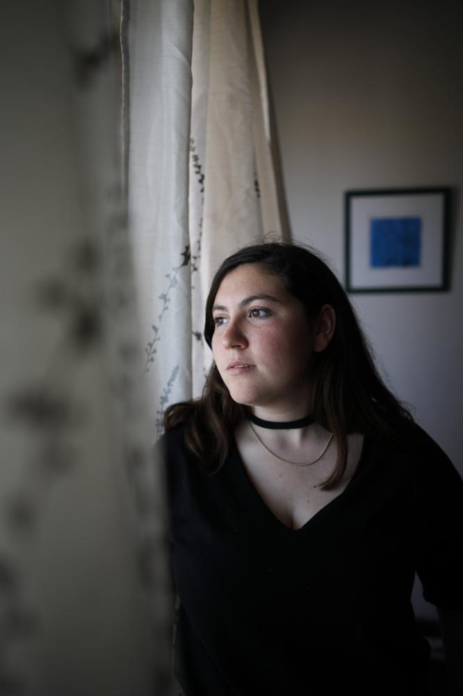 Portrait of Noa Golan, 19, who refused to serve in the IDF, Israel's mandatory army service, Netanya, Israel, April 16, 2018.