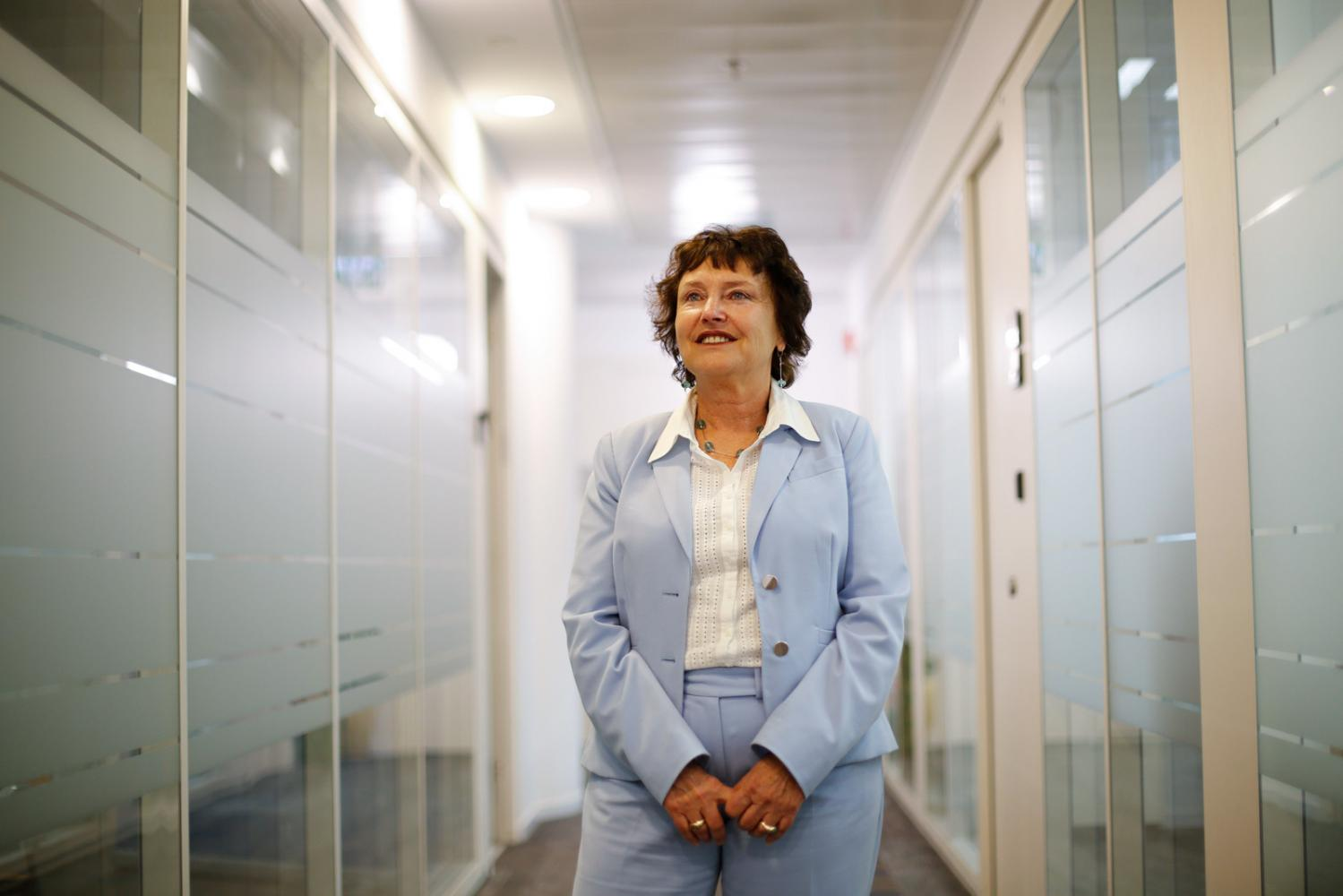 Karnit Flug, governor of the Central Bank of Israel, poses for a portrait following a Bloomberg Television interview in Jerusalem, Israel, on Wednesday, March 28, 2018.